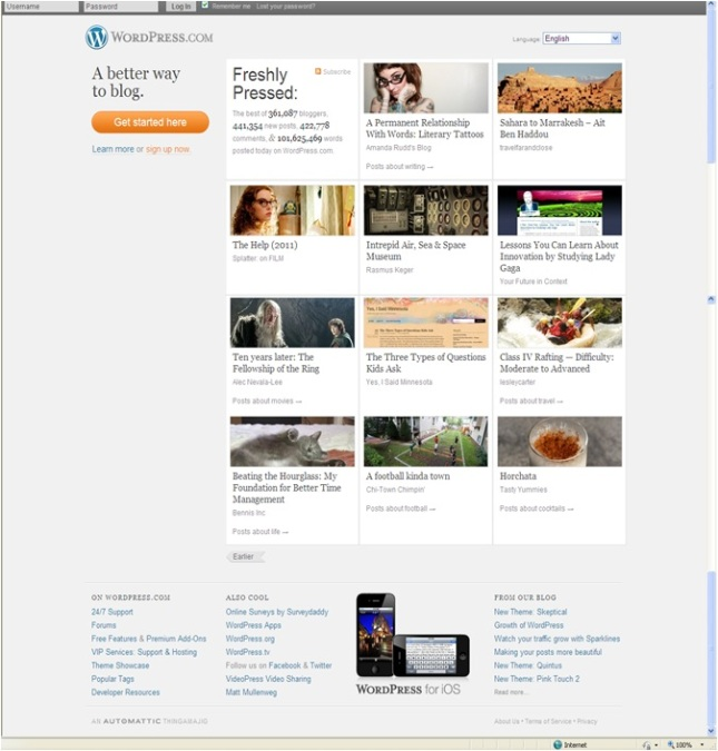 Wordpress old homepage