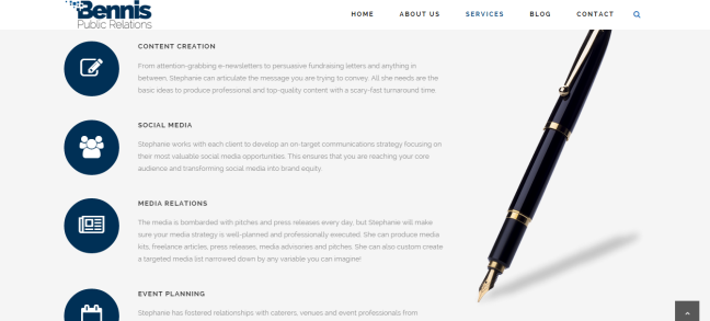 While I custom create my package of services for each client, I wanted to clearly and concisely give people an understanding of my specialties. This section of the website accomplishes just that.